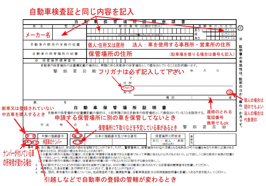 車庫証明申請書の記入方法